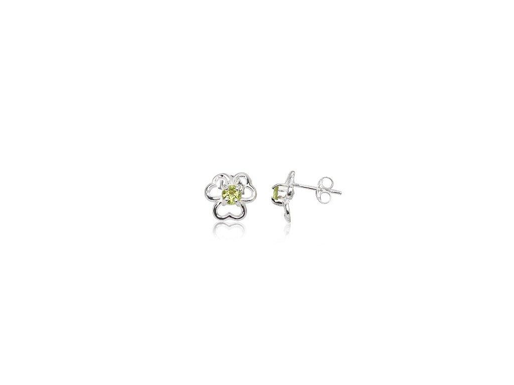 Stříbrné náušnice s trojlístkem se srdíčkovými listy a s olivínem - Meucci TAE002