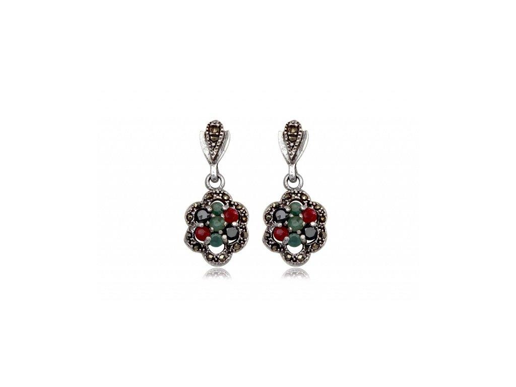 Visací květinové náušnice s rubínem, smaragdem a markazitem - Meucci TAE028