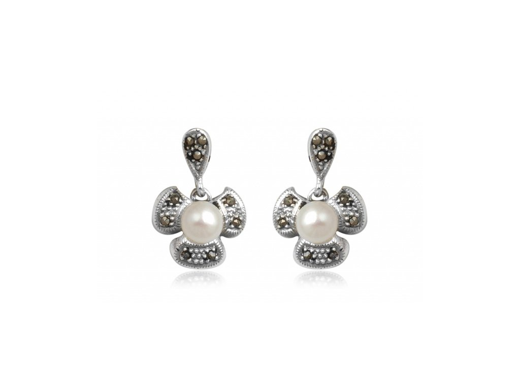 Stříbrné náušnice s andílkem, markazitem a perlou - Meucci TAE032