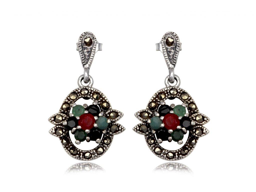 Oválné stříbrné náušnice s markazitem, smaragdem, safírem a rubínem - Meucci TAE080
