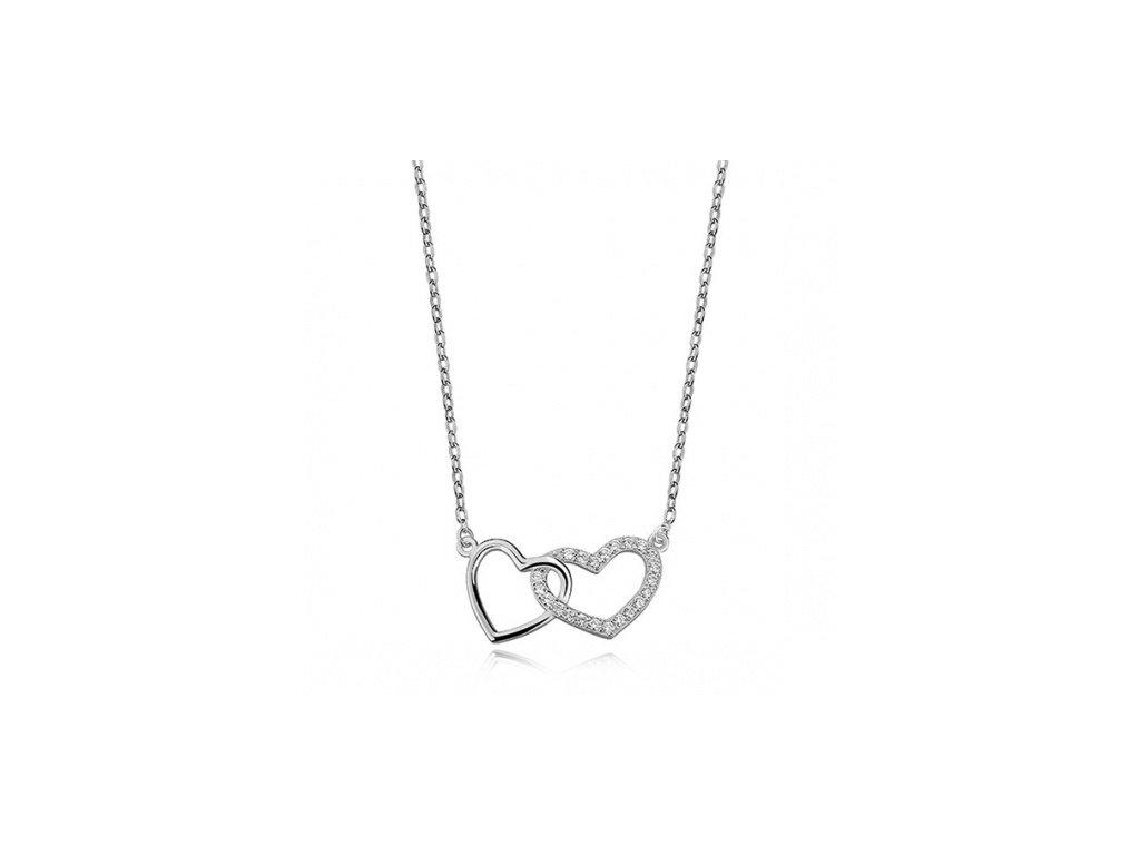 Stříbrný náhrdelník s dvojitým srdíčkem a zirkony - Meucci SLN001