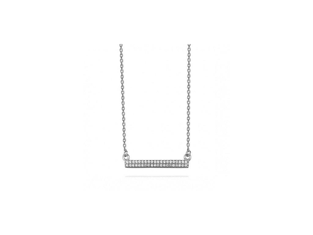 Elegantní stříbrný náhrdelník se zirkonovým zdobením - Meucci SLN005