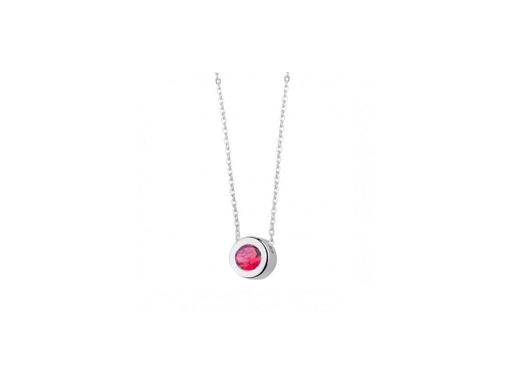 Stříbrný náhrdelník s turmalínově vyplněnou ozdobou - Meucci SLN009