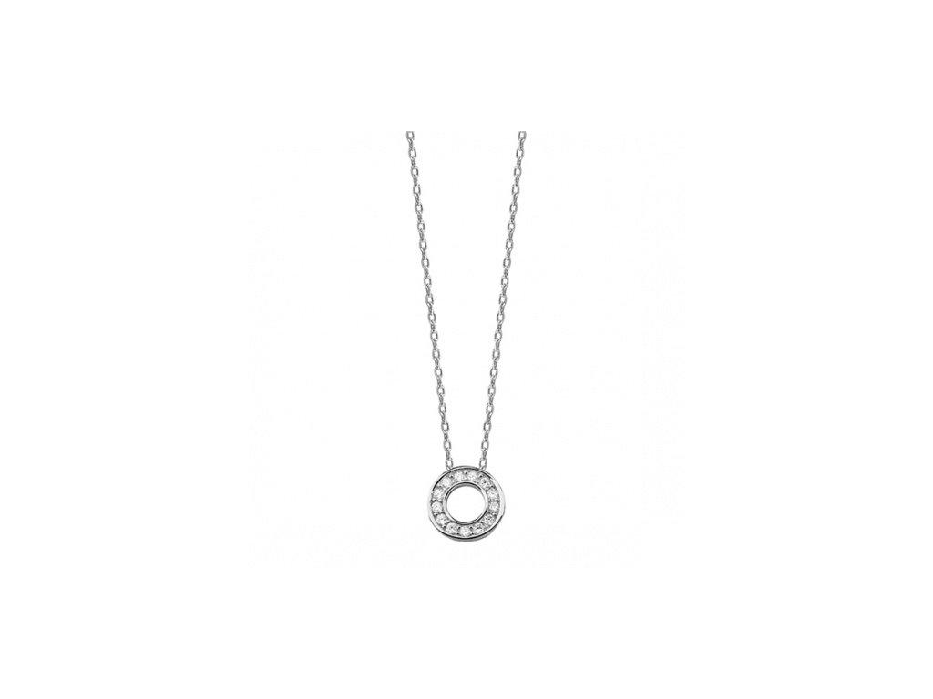 Stříbrný náhrdelník s kolečkem vyplněným zirkony - Meucci SLN011