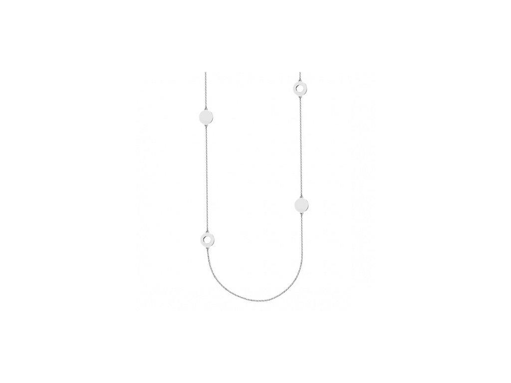 Jednoduchý stříbrný náhrdelník s kruhovým zdobením okolo - Meucci SLN012