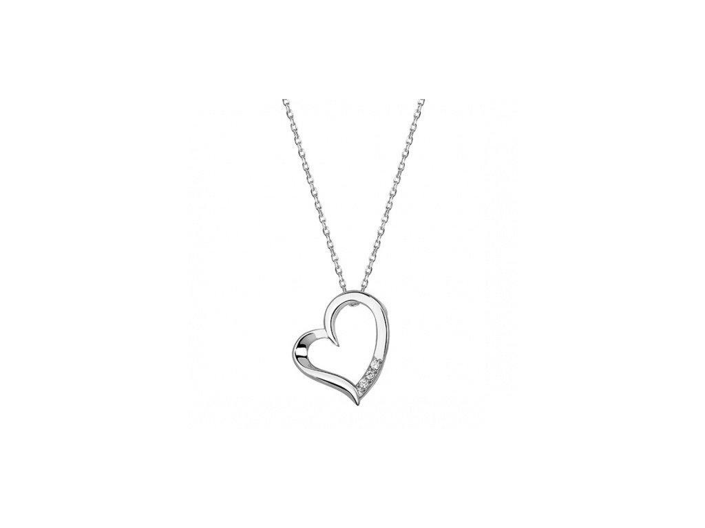 Stříbrný náhrdelník s decentním srdíčkem zdobeným zirkony - Meucci SLN016
