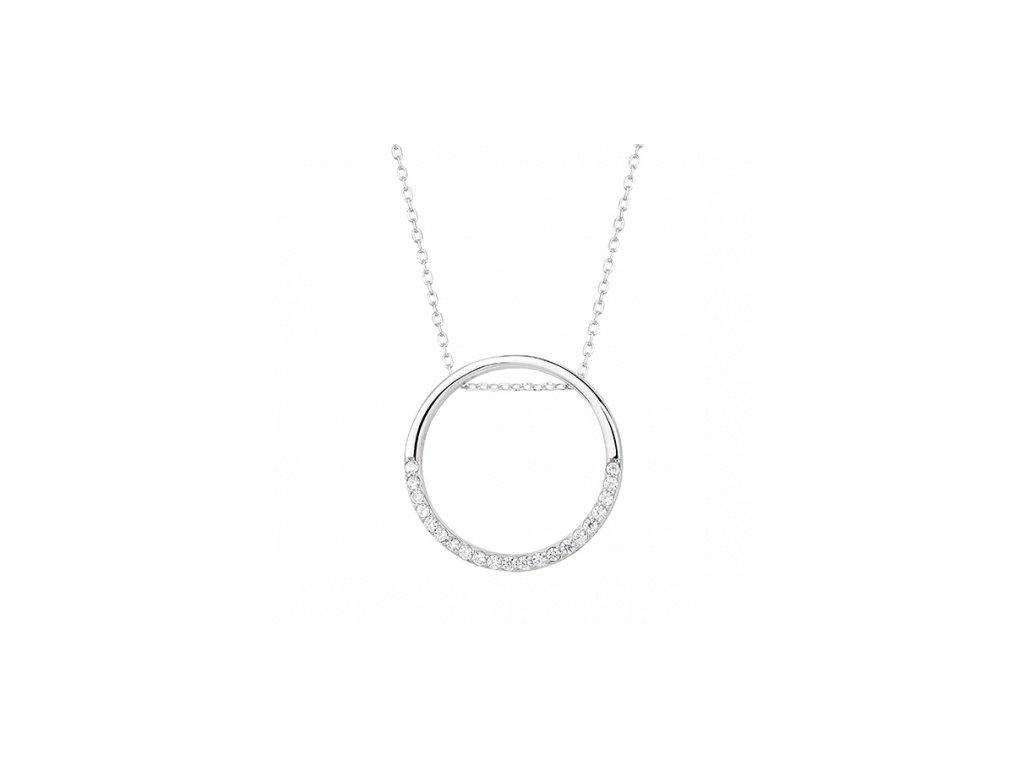 Stříbrný náhrdelník s kruhem z poloviny zdobený zirkony - Meucci SLN019