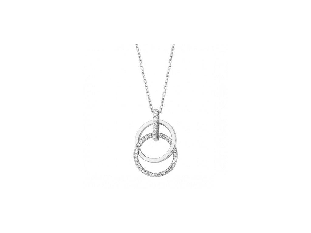 Stříbrný náhrdelník se zirkonovými kroužky - Meucci SLN027