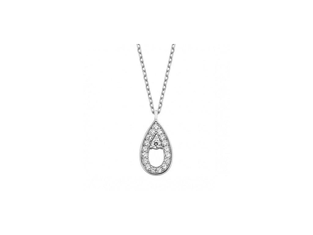 Stříbrný náhrdelník s vyplněnou zirkonovou slzičkou - Meucci SLN031