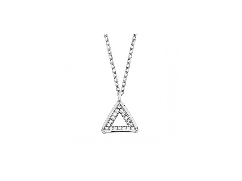 Stříbrný náhrdelník s přívěskem trianglu vyplněným zirkony - Meucci SLN032