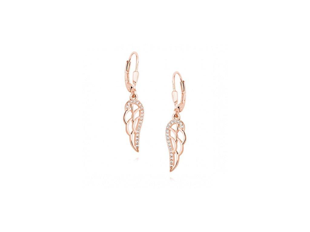Rose gold náušnice s andělskými křídly a zirkony - Meucci SLE041