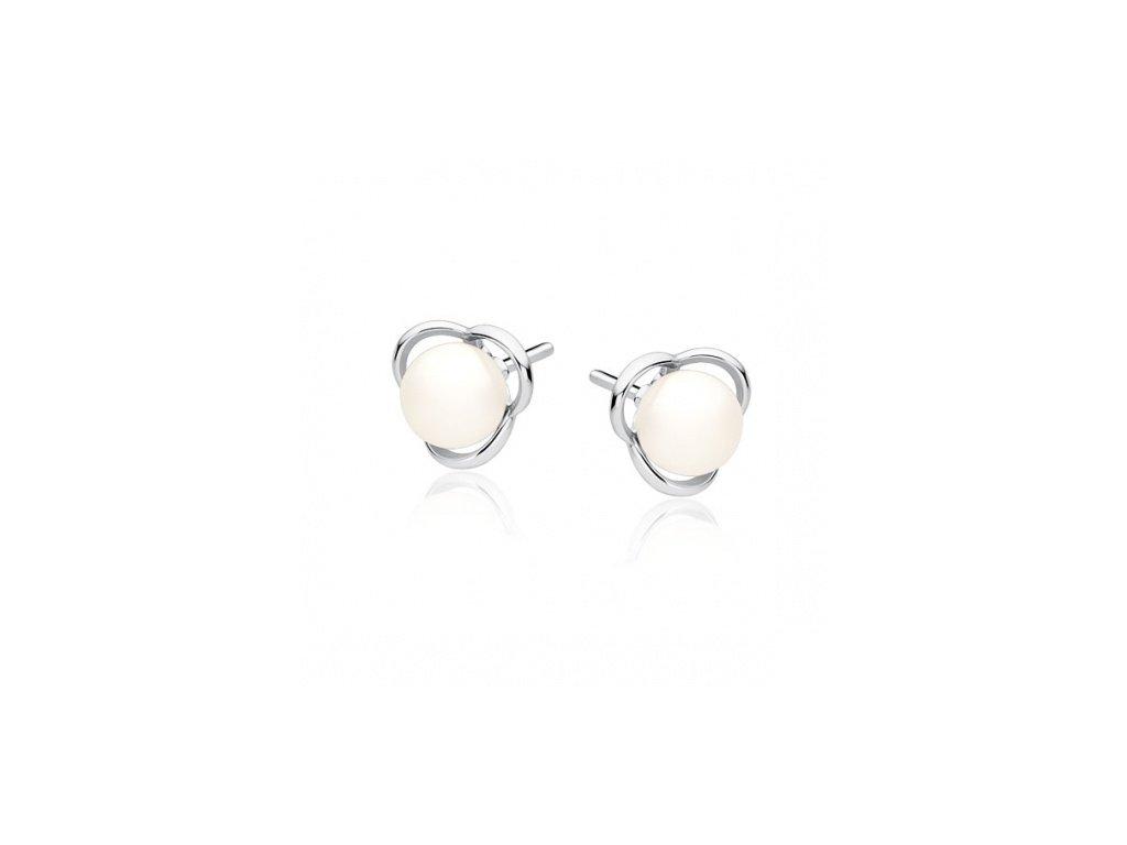 Malé stříbrné náušnice s perlou - SLE044
