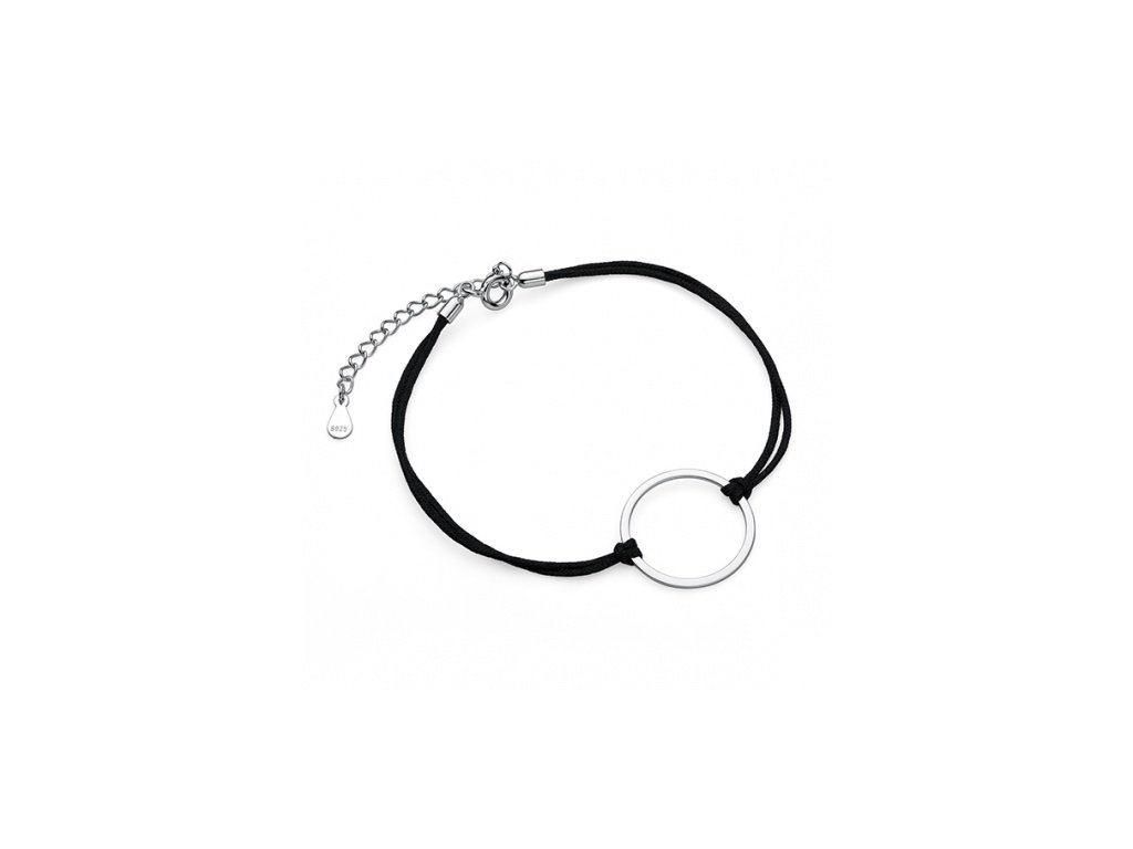 Černý provázkový náramek se stříbrným kolečkem - Meucci SLB034