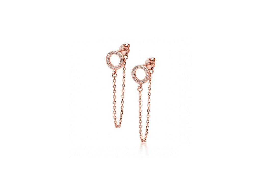 Rose gold náušnice s kroužkem a se zirkony - Meucci SLE098