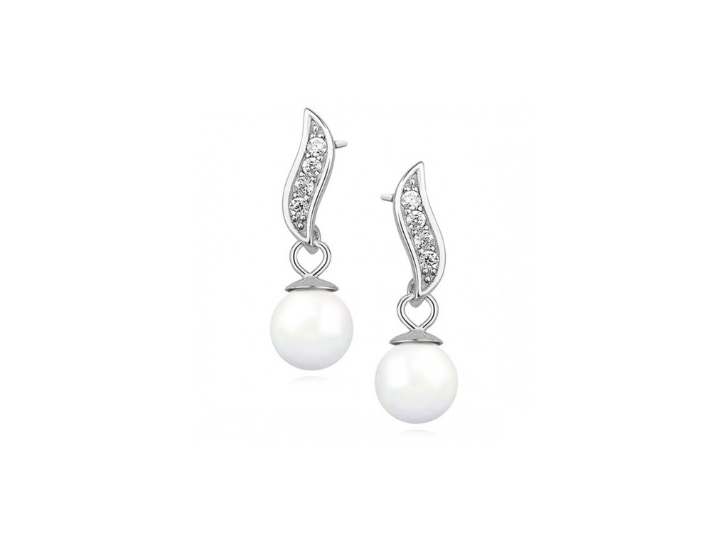 Stříbrné náušnice s perlou zdobené zirkony - Meucci SLE215