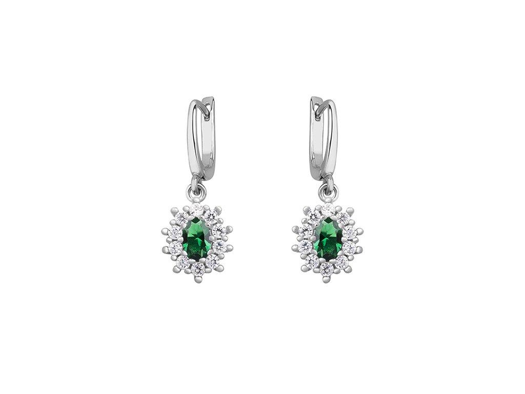 Stříbrné náušnice se smaragdem a zirkonovým zdobením - Meucci SLE235