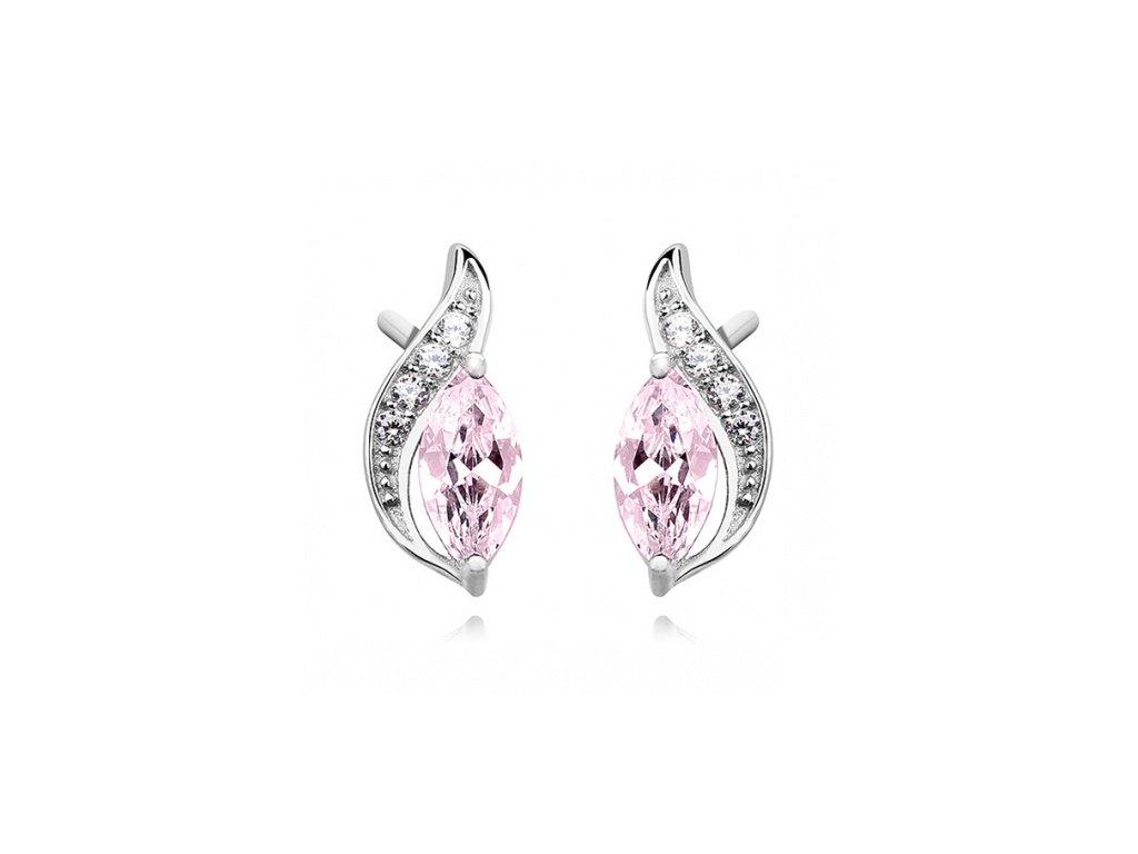 Stříbrné náušnice s čirým a růžovým zirkonem - Meucci SLE288