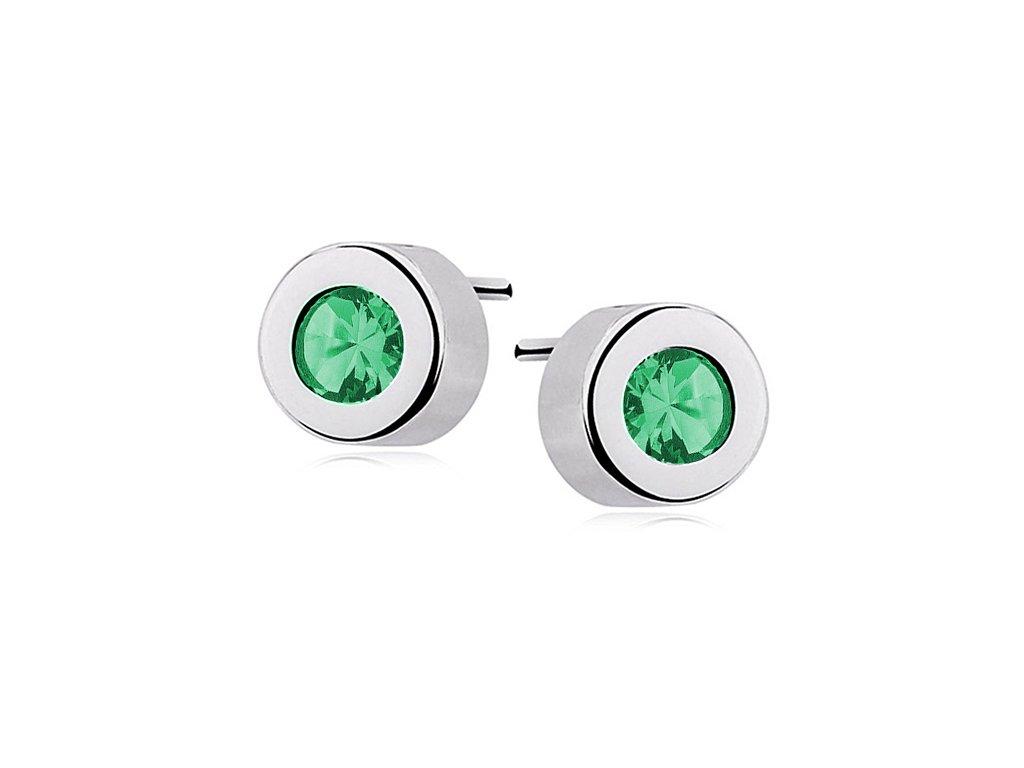 Stříbrné náušnice pecky se smaragdem - Meucci SLE362