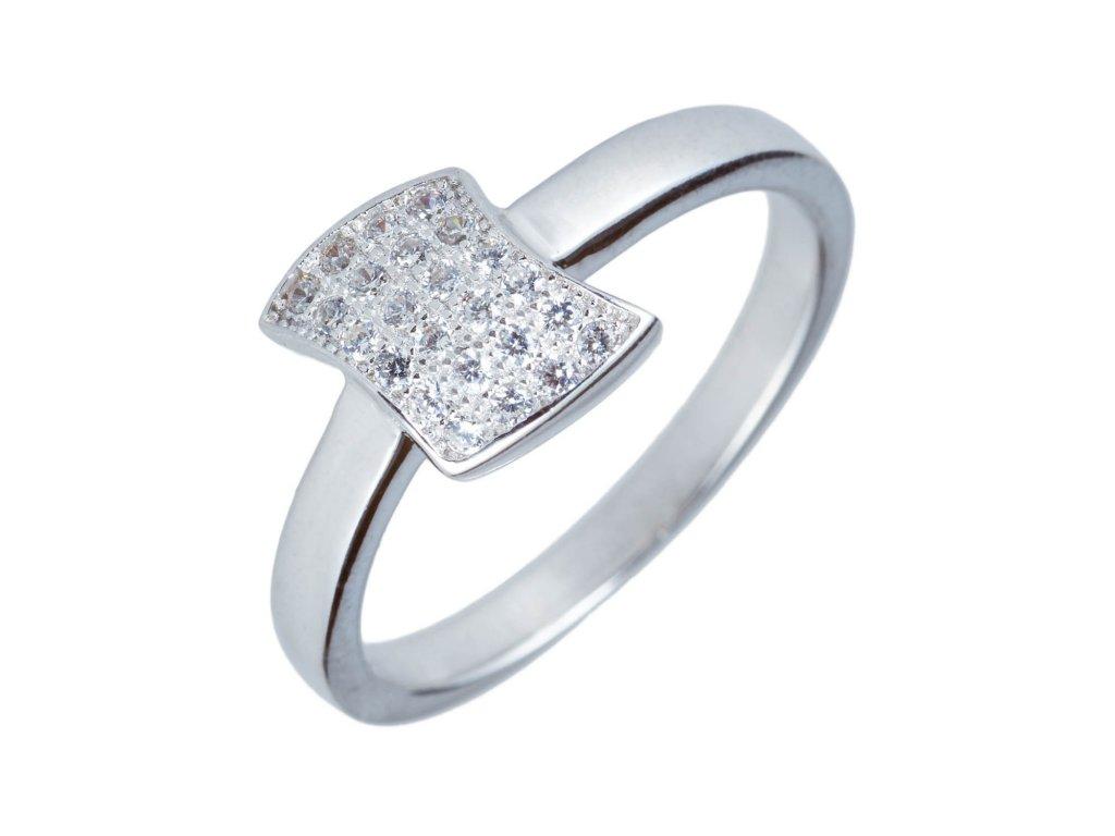 Drobný stříbrný prsten s vlnkou a zirkony