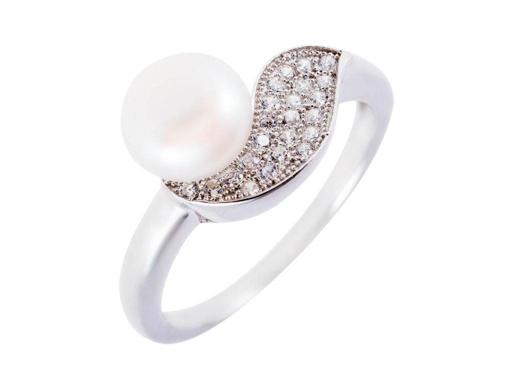 Stříbrný prsten s přírodní perlou a vlnkou se zirkony - Meucci SMP08R