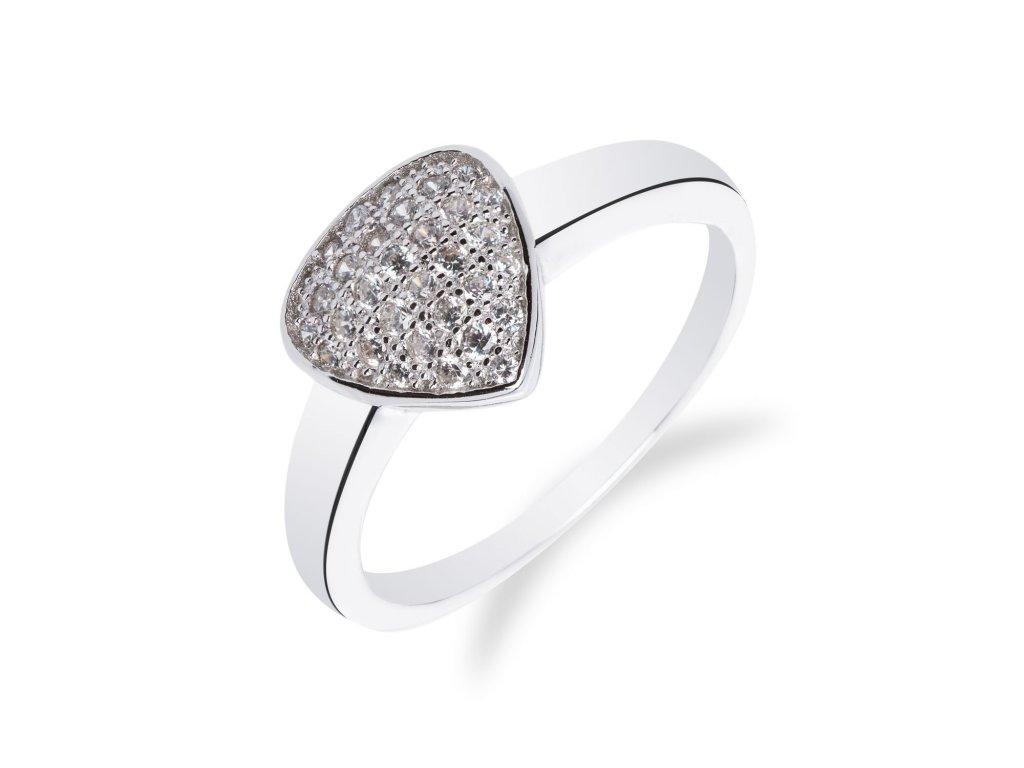 Rhodiovaný prsten ze stříbra s ploškou se zirkony - Meucci SM34R