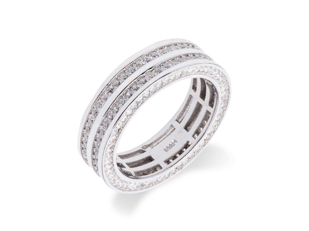 Luxusní stříbrný prsten s desítkami zirkonů