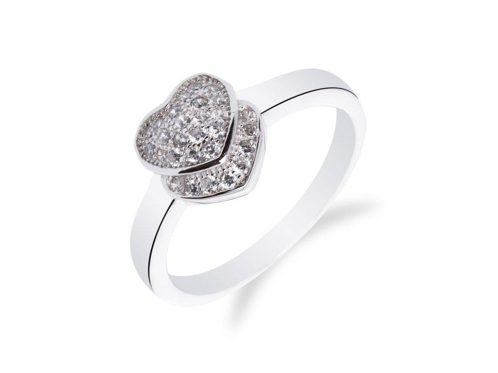 Rhodiovaný stříbrný prsten se srdíčkem - Meucci SM38R