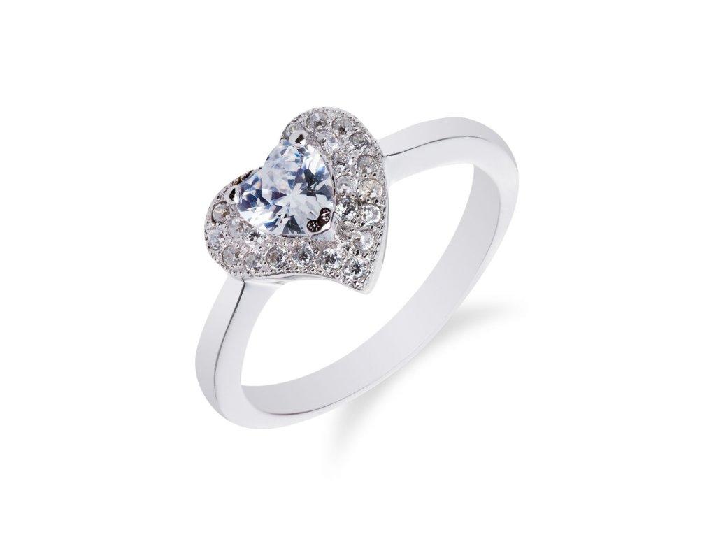 Drobný stříbrný prsten se srdíčkem a zirkony
