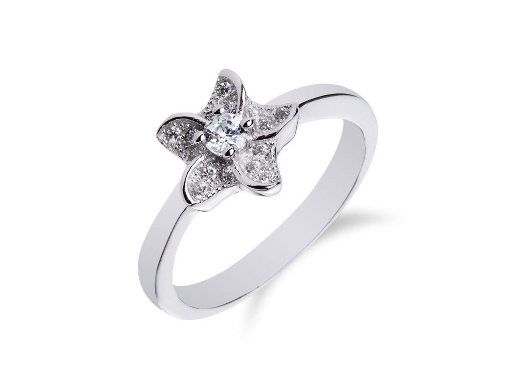 Jemný stříbrný prstýnek s hvězdičkou ze zirkonů - Meucci SM40R