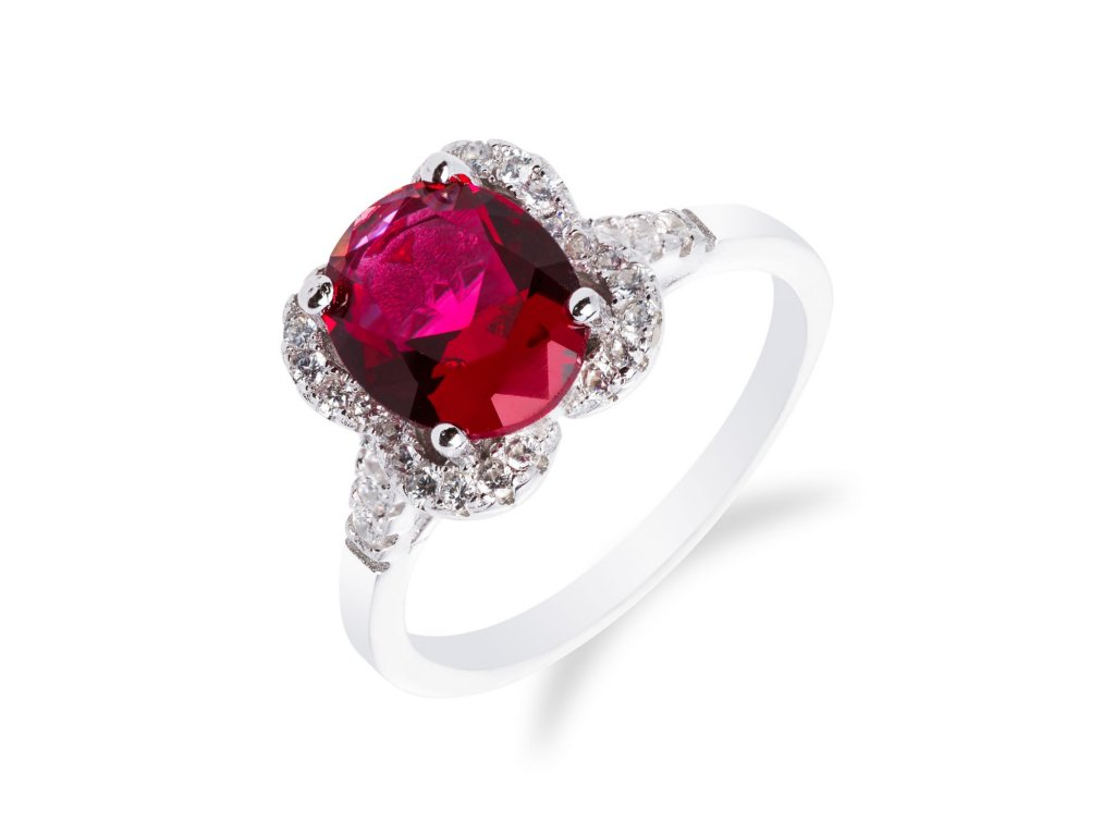 Stylový stříbrný prsten s rubínem a zirkony