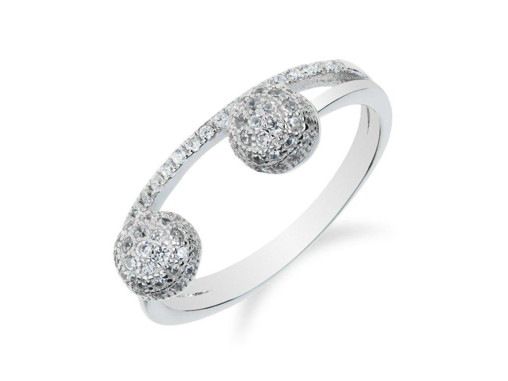 Stříbrný prsten s kuličkami osázenými zirkony - Meucci SR008