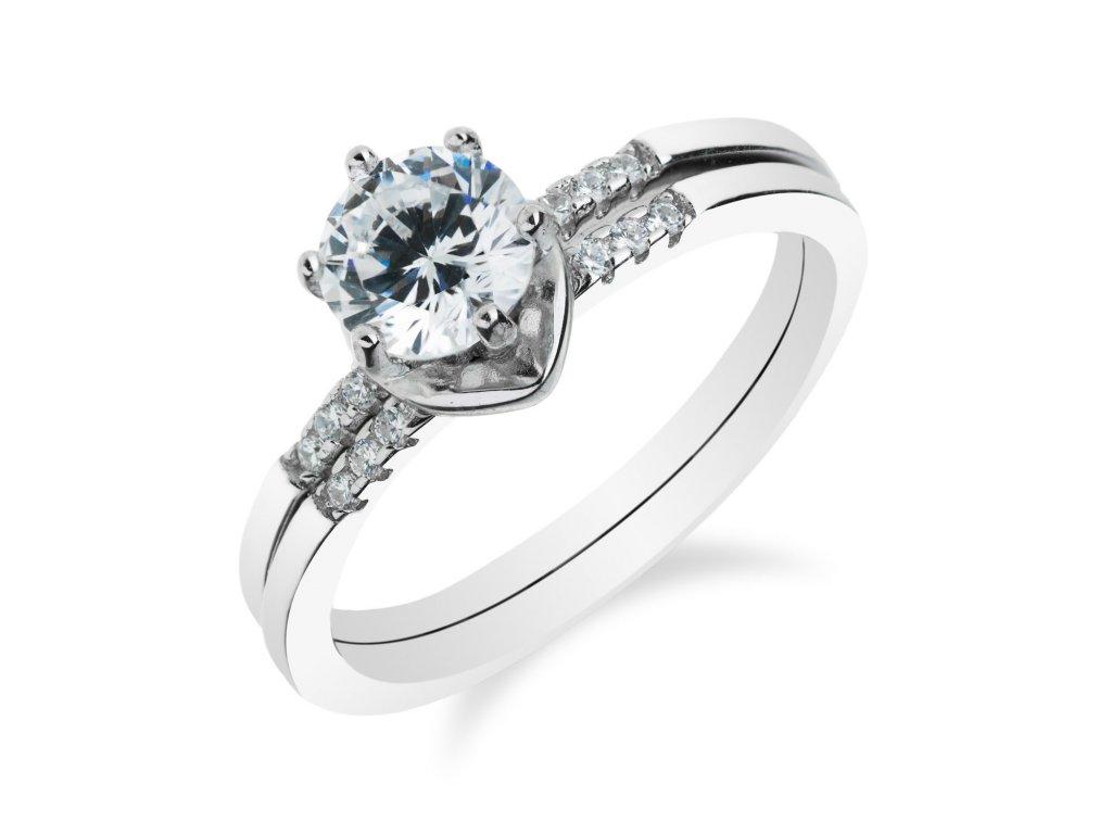 Stříbrný skládací prsten s velkým zirkonem - Meucci SR009