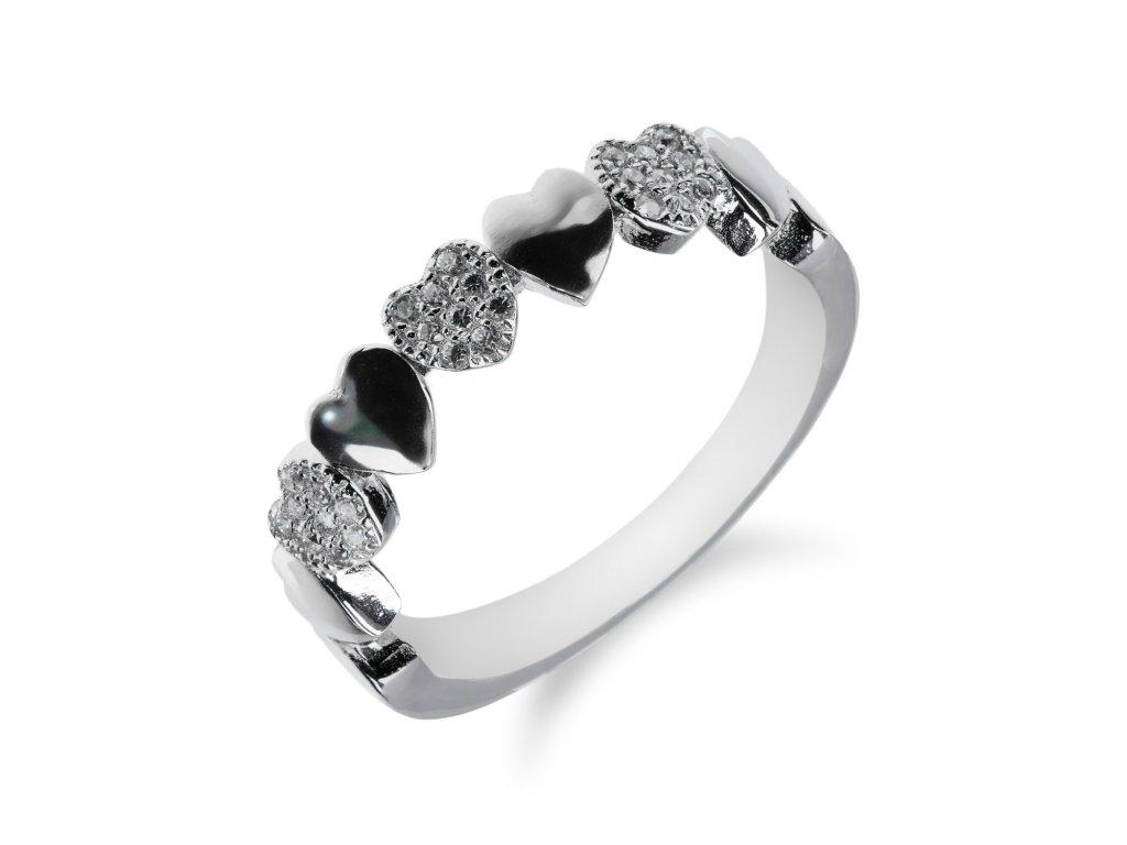 Stříbrný prsten s pohyblivými srdíčky a zirkony - Meucci SR029