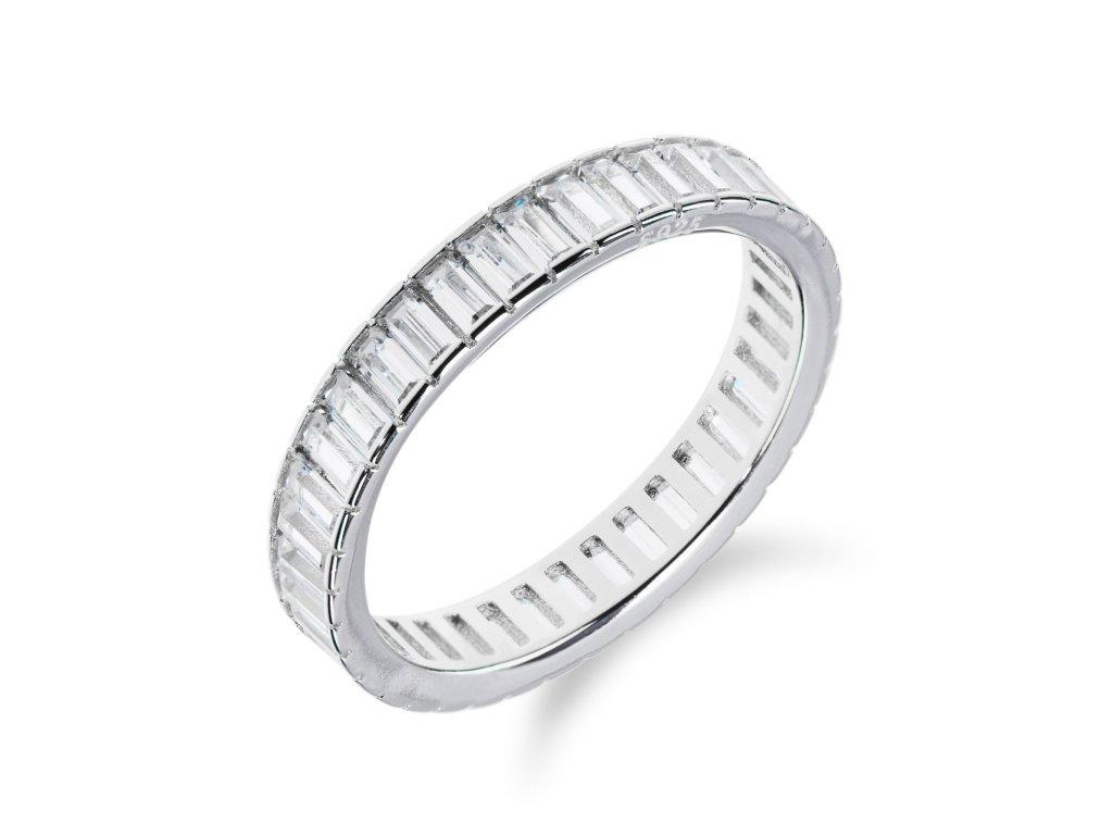 Stříbrný prsten s obvodem z obdélníkových zirkonů - Meucci SR031