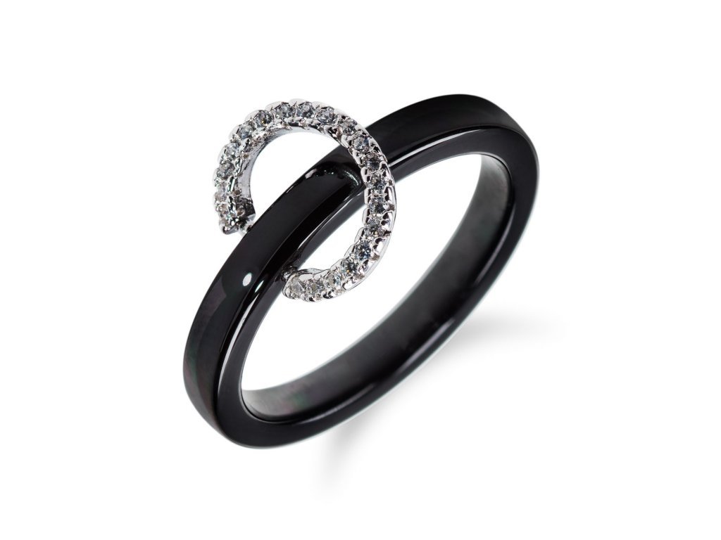 Keramický prsten se stříbrným kroužkem a zirkony - Meucci SR032