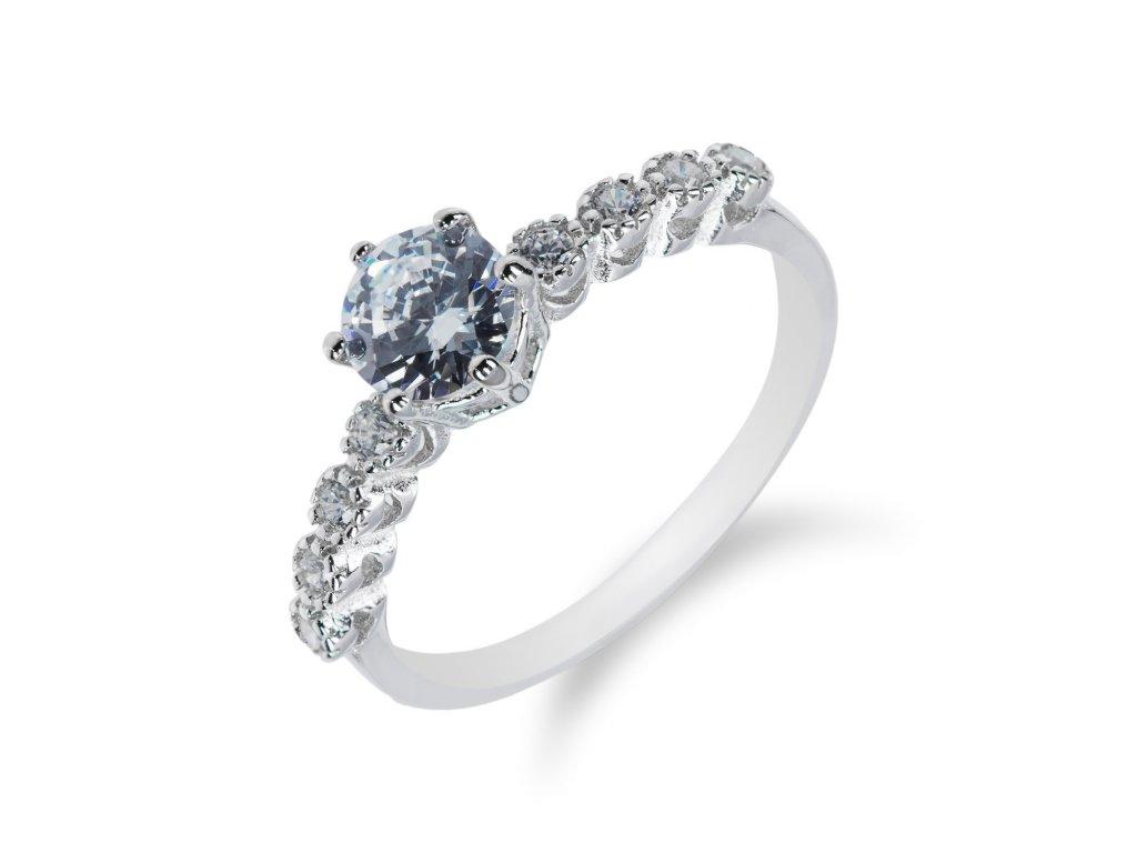 Stříbrný prsten s řadou drobných zirkonů a velkým zirkonem