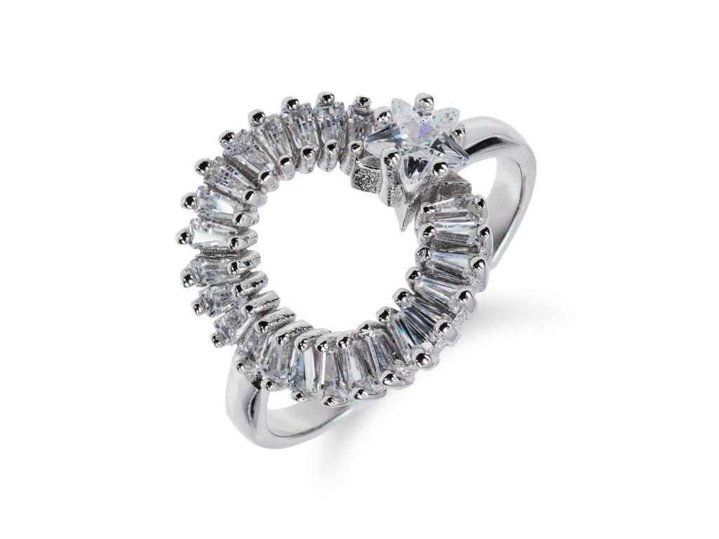 Stříbrný prsten s kruhem a hvězdičkou ze zirkonů - Meucci SS71R