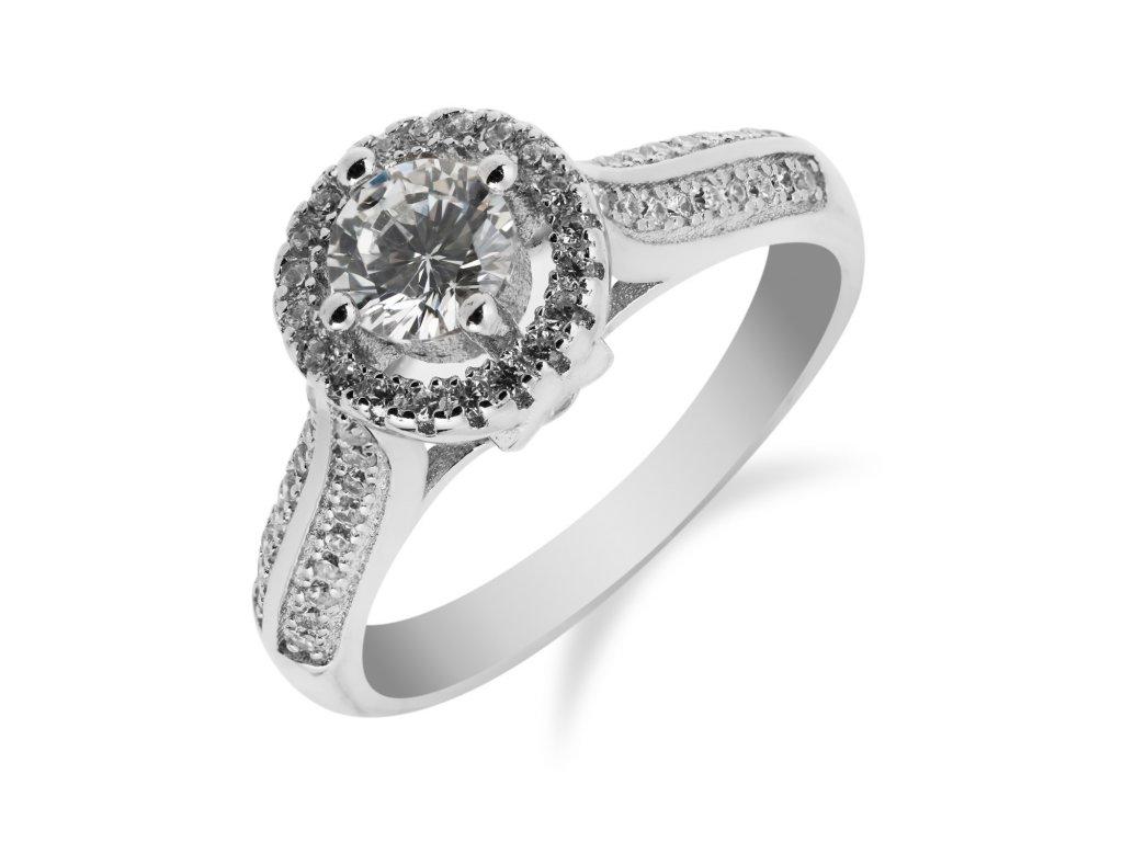 Stylový stříbrný prsten se zirkony - Meucci SR049