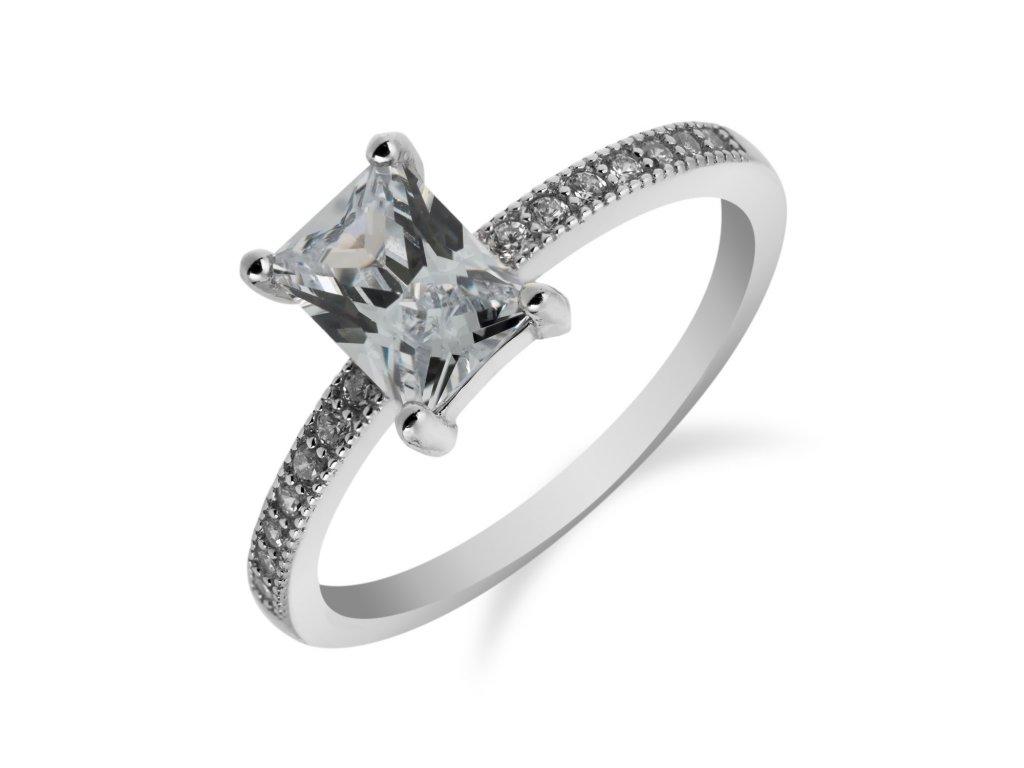 Stříbrný prsten s obdélníkovým zirkonem - Meucci SR050