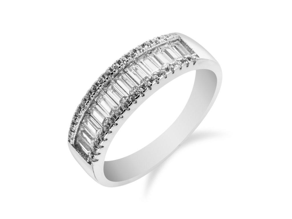Luxusní stříbrný prsten se třemi řadami zirkonů - Meucci SR051