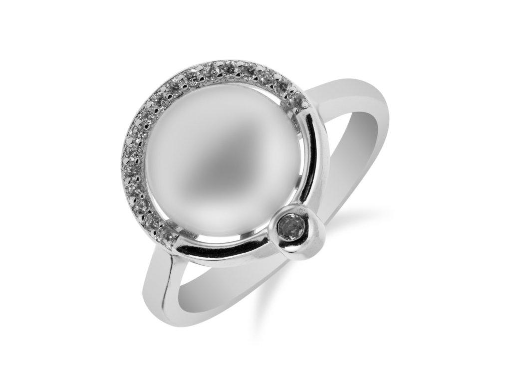 Stylový stříbrný prsten s perlou a zirkony - Meucci SP35R