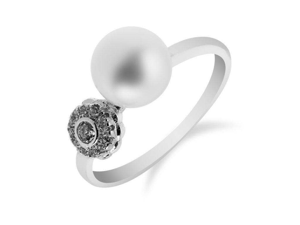 Jemný stříbrný prsten s drobnou perlou - Meucci SP39R