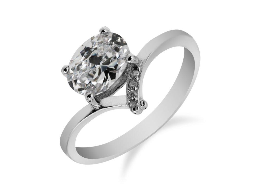 Jemný stříbrný prstýnek se zirkony - Meucci SS79R/08