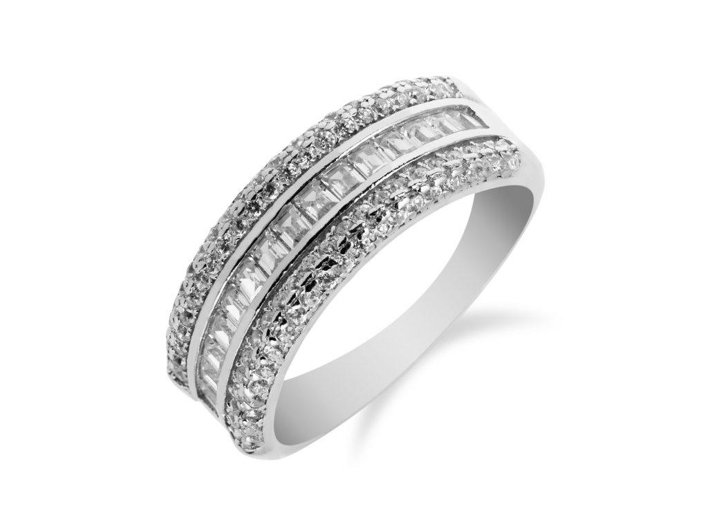 Stříbrný prsten se třemi řadami zirkonů - Meucci SS91R