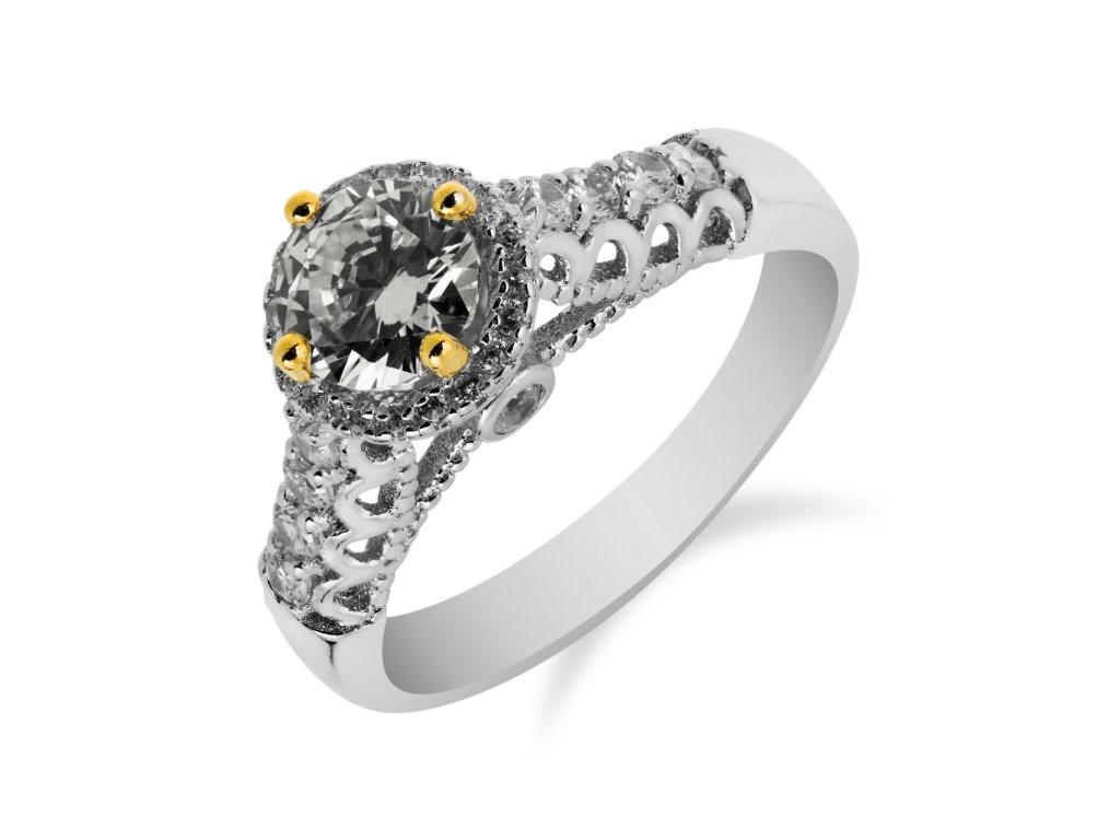 Elegantní stříbrný prsten s kulatým zirkonem a drobnými zirkony okolo - Meucci SS96R