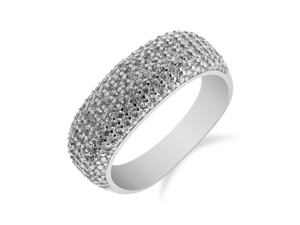 Třpytivý stříbrný prsten se stovkami čirých zirkonů - Meucci SS99R