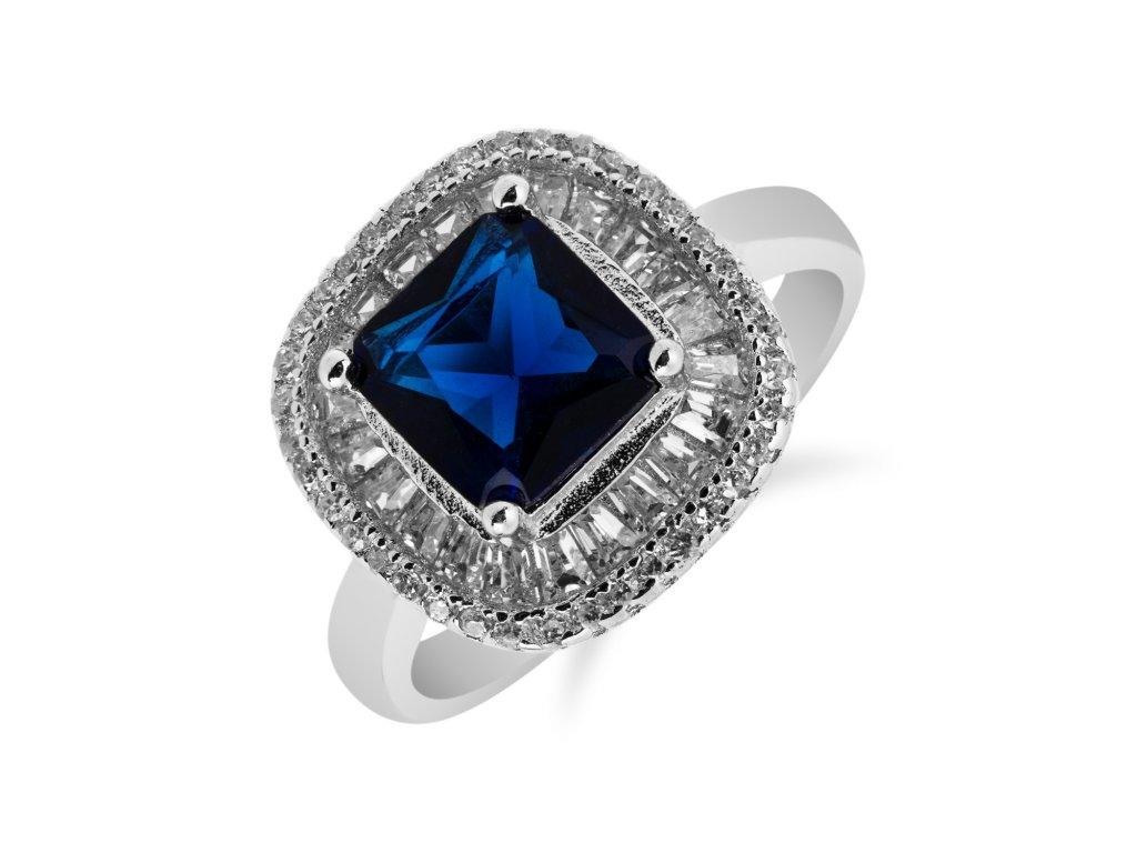 Výrazný stříbrný prsten s čtvercovým safírem a zirkony - Meucci SS95R/01