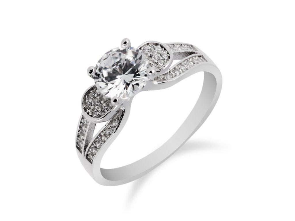 Zajímavý stříbrný prsten se zirkonem a zirkony okolo - Meucci SS114R