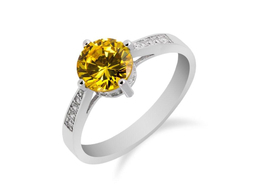 Elegantní stříbrný prsten se žlutým topazem a zirkony - Meucci SS93R/09