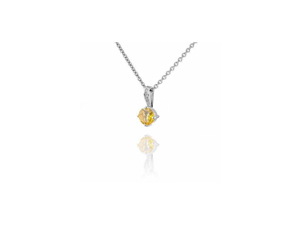 Jemný stříbrný náhrdelník se žlutým topazem a zirkony - Meucci SS93N/09